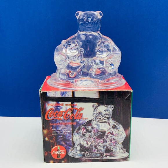"""New Coca-Cola 6"""" anniversary clock polar bear With cubs in original package"""